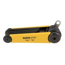 Juego 7 llaves allen hex., pulgadas, con placa de inserción TAHBE-9787 Herramientas BAHCO