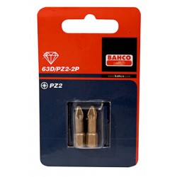 "Carton 2 Puntas Diamante Torsion 1/4"" Pz2 25mm 63D/PZ2-2P Herramientas BAHCO"