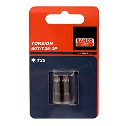 "Carton 2 Puntas Torsion 1/4"" Torx 25mm 60T/T20-2P Herramientas BAHCO"