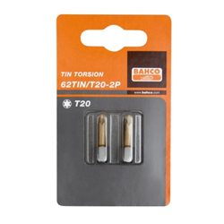 "Carton 2 Puntas T30 25mm 1/4"" Tin 62T1N/T30-2P Herramientas BAHCO"