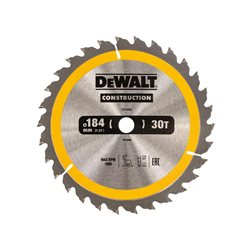 Hoja para sierra circular portátil para construcción 184x16mm 30D ATB +10º Herramientas Dewalt