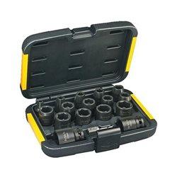 Juego de llaves de vaso de 17 piezas (Ø 6,8,10,11,12,13,14,16,17,18,19,20,21,22,24,27mm y adaptador de 1/4'' a 1/2'') Herramientas Dewalt