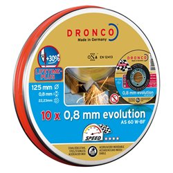 DRONCO AS60W-125PACKPLUS - Lata sellada de 10 discos de corte metal 125 x 0,8 mm AS 60 W EvolutionLifetime Plus Herramientas Dronco