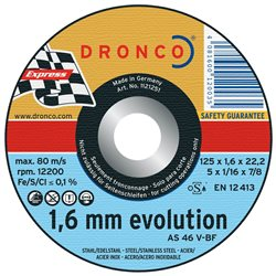 DRONCO AS46V-125 - Disco de corte metal AS 46 V Evolution Express, 125 x 1,6 mm Herramientas Dronco