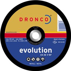 DRONCO AS36V-180 - Disco de corte metal AS 36 V Evolution, 180 x 2,2 mm Herramientas Dronco