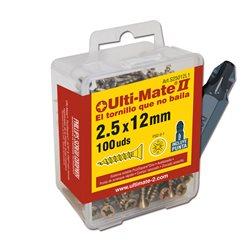 ULTI-MATE II S45050L1 - Caja grande con tornillos de alto rendimiento para madera acabado BICROMATADO y punta PSD de 25mm inclui Herramientas Ulti-Mate II