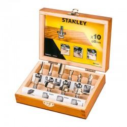 Conjunto de 10 fresas TCT en estuche de madera STANLEY STA80020-XJ (1 unidad) Herramientas STANLEY