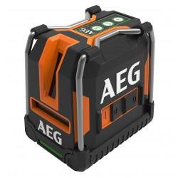 Laser de lineas cruzadas con plomada verde a pilas AA 30mm, bloqueo, bolsa, cinta velcro, base magnética, placa identificadora Herramientas AEG