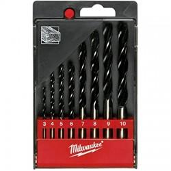 Estuche de 8 brocas para madera 3 / 4 / 5 / 6 / 7 / 8 / 9 / 10mm MILWAUKEE Herramientas Milwaukee