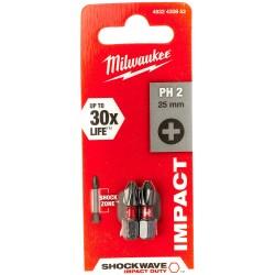 Punta Shockwave PZ2 x25mm - 2uds MILWAUKEE Herramientas Milwaukee