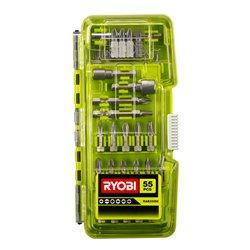 Kit 55 Acces¢rios de atornillar - 55 piezas (50 puntas 25 mm PH / PZ / TX / HEX / SL / SQ + 2 puntas 50 mm PZ / TX + 2 llaves d Herramientas RYOBI